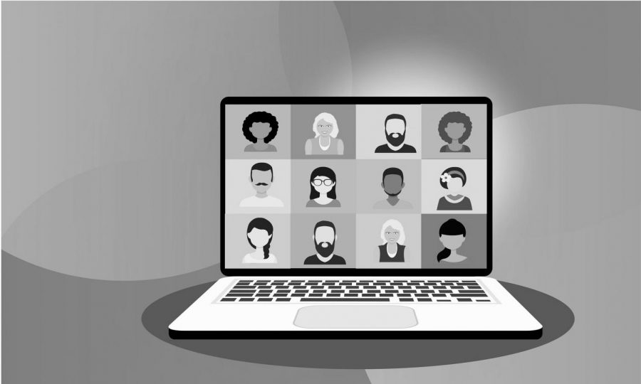 A black and white photo illustration depicting an online conference.