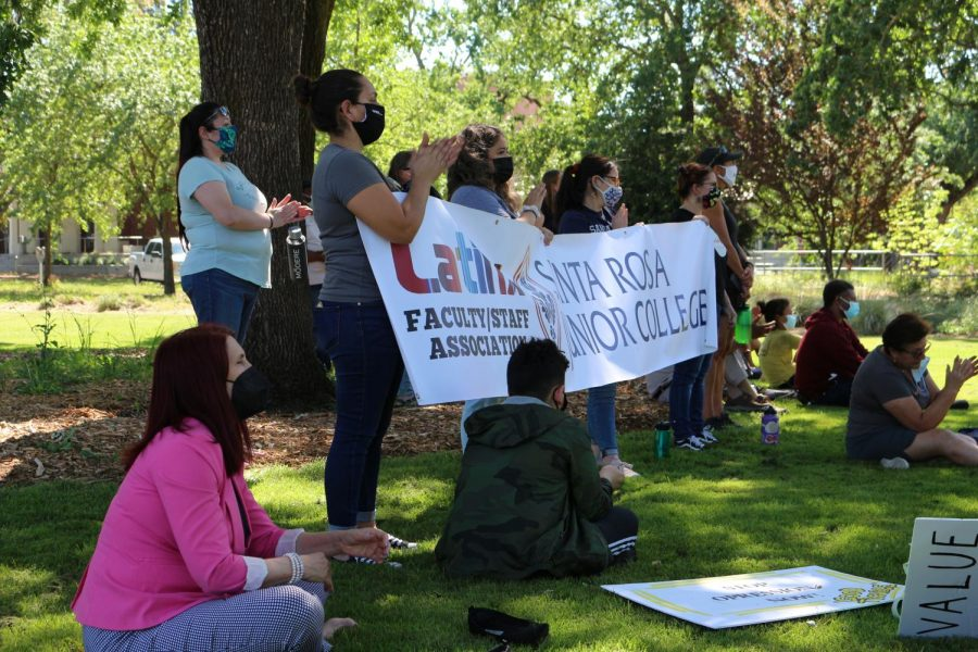 Latinx students and faculty representatives attend the protest in solidarity.