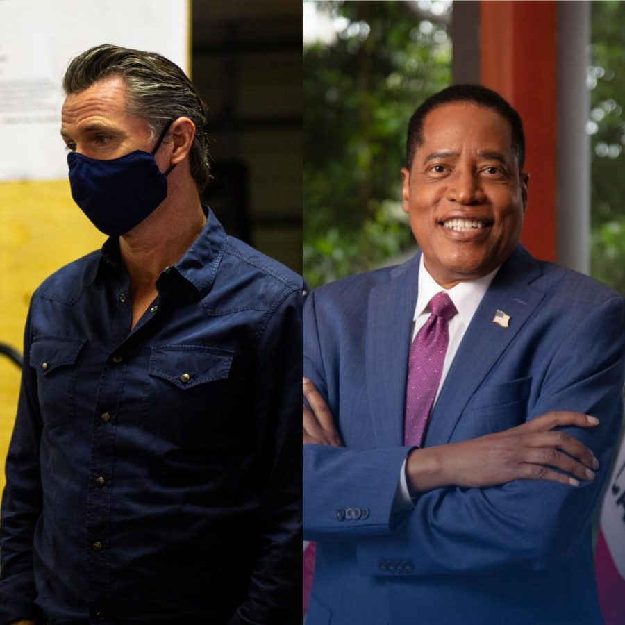 A photo edit that combines an image of California Gov. Gavin Newsom with a photo of conservative radio host and candidate to replace Newsom, Larry Elder.