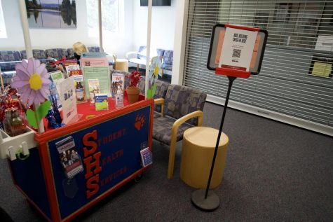 The cheery Student Health Services lobby includes a brightly colored table decorated with a flower and many health pamphlets.