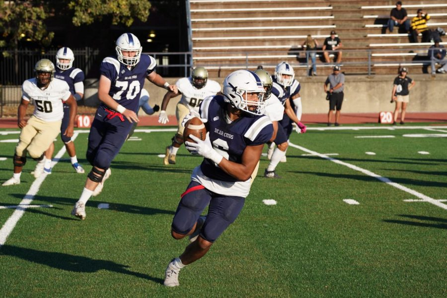 SRJC Bear Cubs wide receiver Micah Fontenot (6) catches a pass by quarterback Jake Simmons (3) in the Bear Cubs second drive of the game and gets a first down to continue the drive at Bailey Field in SRJCs 29-21 2OT loss to Butte College Oct. 16.